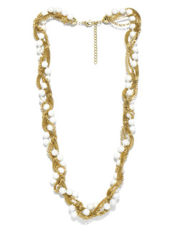 Ivory Tag Twisted Gold Chains and Marble Beads Necklace