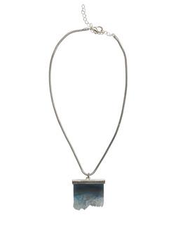 Ivory Tag Cerulean Blue Iceberg Crystal Stone Necklace