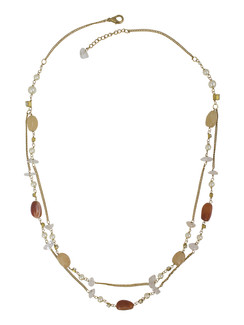 Ivory Tag Shades of Amber Stone Necklace