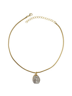 Ivory Tag Beau Mignon Crystal Stone Necklace with Gold Leafing