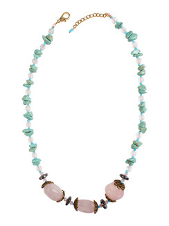 Ivory Tag Turquoise and Powder Pink Stone Necklace