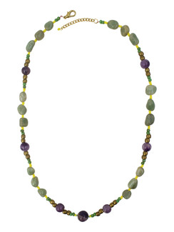 Ivory Tag Purple and Green Stone Beaded Necklace