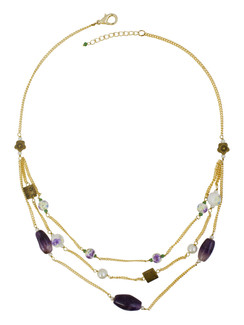 Ivory Tag Purple Stone and Floral Beaded Necklace