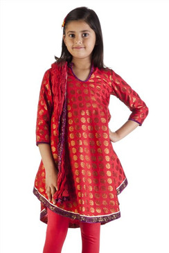 MB Girl's Indian Kurta Tunic Red with Gold Print, Churidar (Pants) and Dupatta (Scarf) – Front