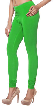 Women's Indian Solid Green Churidar Leggings