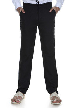 Men's Trousers with Waist Tie-Black