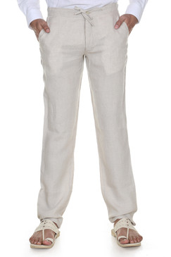 Men's Trousers with Waist Tie-Natural
