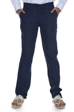 Men's Trousers with Waist Tie-Navy Blue