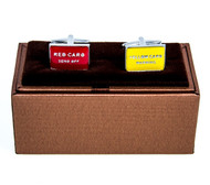 Soccer Penalty Red Card Send Off  & Yellow Warning Card Cufflinks displayed with Deluxe presentation gift box close up image
