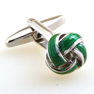Dark Green Knot Cufflinks with Deluxe Presentation Gift Box