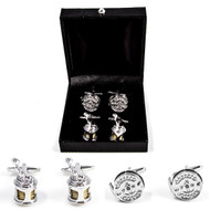 2 pairs fishing reel cufflinks gift set gold and silver finish displayed infront of deluxe presentation gift box
