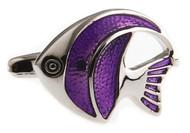 purple angelfish cufflinks close up image