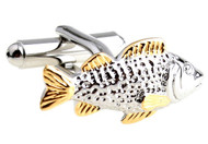 bass fish cufflinks in silver and gold tone close up image