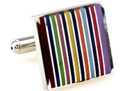 square rainbow striped cufflinks close up image