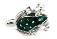 green tree frog cufflinks close up image