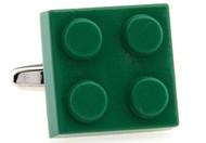 Green Lego brick Cuff-links close up image