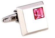 silver square with pink crystal cufflinks close up image