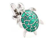 Silvertone Turtle cufflinks with green inlay on the shell, silver tortoise cufflinks with green enamel inlay on the shell