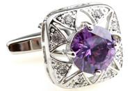 Vintage style round purple crystal cufflinks close up image