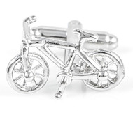 Bike cufflinks, Bicycle cufflinks silvertoned single image shown close up