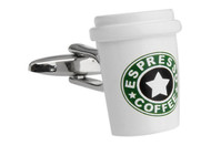 espresso coffee cup cuff links close up image