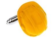 yellow construction hard hat cufflinks close up image