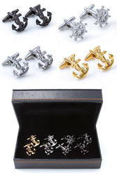 4 pairs assorted boating cufflinks gift set includes silver anchor cufflinks; gun metal anchor cufflinks; gold anchor cufflinks; silver ship wheel cufflinks, all displayed in a presentation gift box close up image