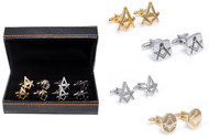 4 pairs of assorted masonic symbol cufflinks gift set features gold and silver designs displayed next to a high quality presentation gift box