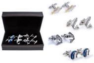 4 pairs assorted fish cufflinks gift set with presentation gift box includes: 1 pair Big Mouth Bass cufflinks 1 pair silver trout cufflinks 1 pair rainbow trout cufflinks 1 pair blue angelfish cufflinks 1 polishing cloth