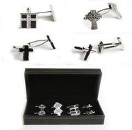 4 pairs assorted cross cufflinks gift sets shown as a set on display in the presentation gift box