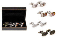 4 pairs assorted cuban cigar cufflinks gift set shown with cigar cufflink pairs beside the presentation gift box