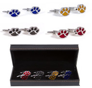 4 Pairs Assorted Tiger Paw Print Cufflinks Gift Set with presentation gift box