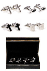 4 Pairs Assorted Christian Cufflinks Gift Set with Presentation Gift Box