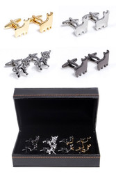 4 pairs Stock Market Bull Cufflinks gift set in presentation gift box. Cufflinks Gift Set includes: 1 pair gold bull cufflinks 1 pair silver bull Cufflinks 1 pair gun metal bull cufflinks 1 pair Steer Bull Cufflinks