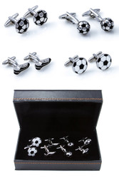 4 Pairs Assorted Soccer Cleat & Soccer Balls Cufflinks Gift Set with presentation gift box