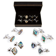 4 Pairs assorted Abalone cufflinks Gift set displayed in front of the presentation gift box close up image