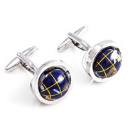 Spinning globe cufflinks shown as a pair side view close up image