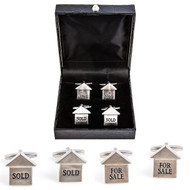 2 Pairs Realtor For sale & Sold Sign Cufflinks Gift Set with presentation gift box includes 1 pair of House For Sale Cufflinks 1 pair of Sold Sign Cufflinks