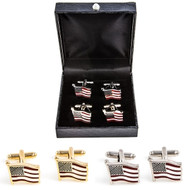 2 Pairs American Flag Cufflinks Gift Set; USA Flag Cufflinks Gift Set wavy design includes 1 Pair of Gold American Flag Cufflinks 1 Pair Silver USA Flag Cufflinks