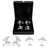 2 Pairs of Commercial Airliner Jet Plane Cufflinks Gift Set with presentation gift box