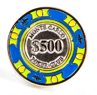 $500 poker chip cufflinks blue green and yellow colors close up image