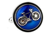 Round Blue enamel with silver bike Bicycle Cufflinks round disc button style close up image