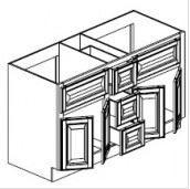 "Chocolate Maple Glaze Vanity Base Cabinet Double Sink  60""W x 21""D x 33""H  FA6021DD"