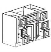 "Chocolate Maple Glaze Vanity Base Cabinet Center Sink  60""W x 21""D x 33""H  FA6021D"