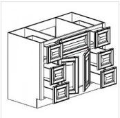 "Mahogany Maple Vanity Base Cabinet Center Sink  48""W x 21""D x 33""H  FA4821D"