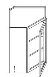 """Chocolate Maple Glaze Wall Diagonal Corner Glass Cabinet   24""""W x 12""""D x 36""""H  WMDC2436H"""