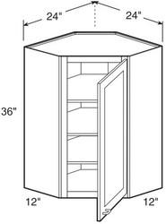 """Chocolate Maple Glaze Wall Diagonal Corner Cabinet   24""""W x 12""""D x 36""""H  WDC2436"""