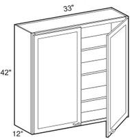 """Chocolate Maple Glaze Wall Cabinet   33""""W x 12""""D x 42""""H  W3342"""