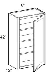 """Creme Maple Glaze Wall Cabinet   9""""W x 12""""D x 42""""H  W0942"""