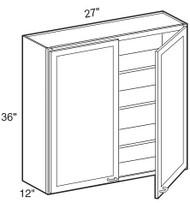 """Chocolate Maple Glaze Wall Cabinet   27""""W x 12""""D x 36""""H  W2736"""